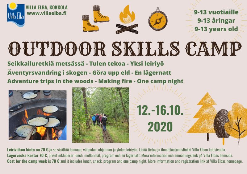 Outdoor Skills Camp for 9-13 years old 12-16.10.2020